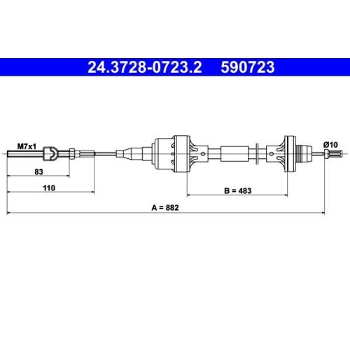 Seilzug, Kupplungsbetätigung ATE 24.3728-0723.2 OPEL VAUXHALL
