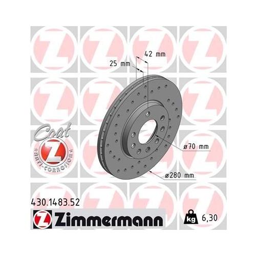 ZIMMERMANN Brake Disc 430.1483.52