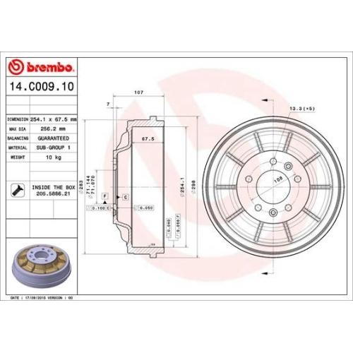 BREMBO Bremstrommel 14.C009.10