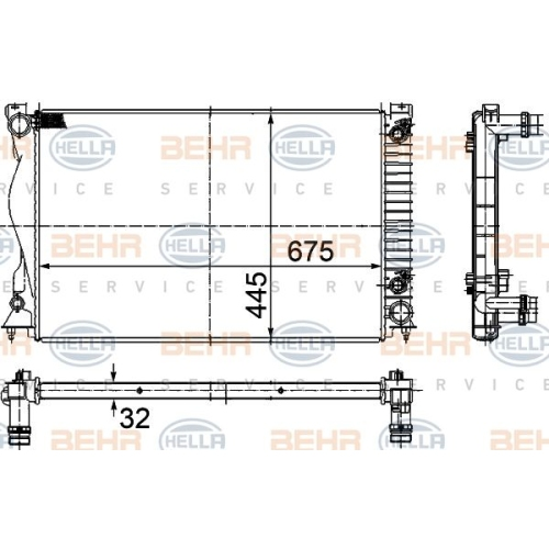 HELLA Radiator, engine cooling 8MK 376 732-501
