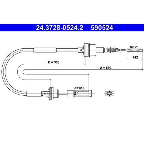 Seilzug, Kupplungsbetätigung ATE 24.3728-0524.2 FIAT