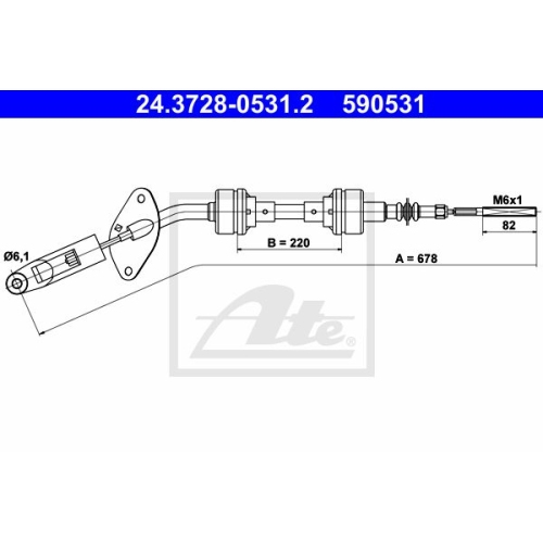 Clutch Cable ATE 24.3728-0531.2 FIAT