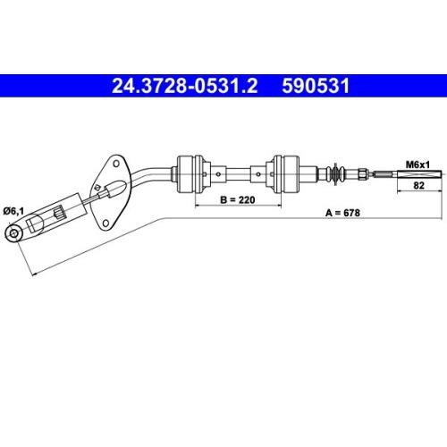 Seilzug, Kupplungsbetätigung ATE 24.3728-0531.2 FIAT