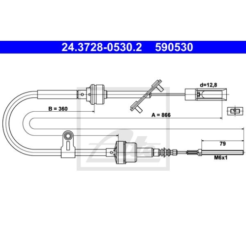Clutch Cable ATE 24.3728-0530.2 FIAT