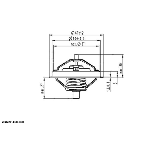 Thermostat, coolant BorgWarner (Wahler) 4488.80D0 VW