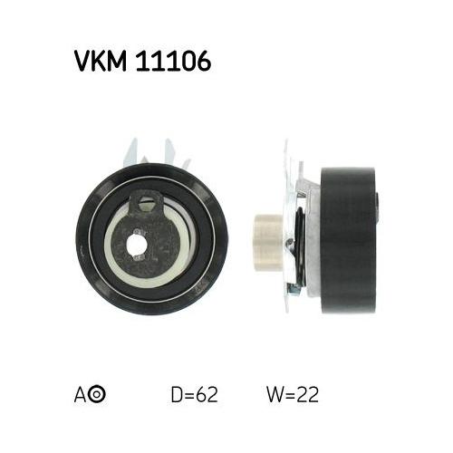 Tensioner Pulley, timing belt SKF VKM 11106 AUDI VW