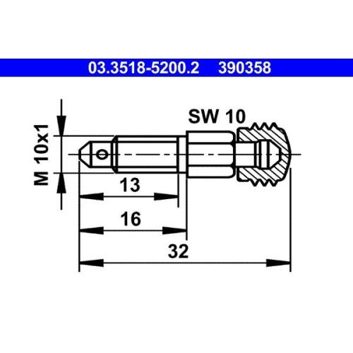 Entlüfterschraube/-ventil ATE 03.3518-5200.2 MERCEDES-BENZ PORSCHE TALBOT VAG