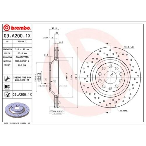 Bremsscheibe BREMBO 09.A200.1X BREMBO XTRA LINE AUDI SEAT VW VW (FAW)