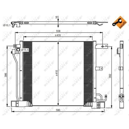 Kondensator, Klimaanlage NRF 350040 EASY FIT NISSAN