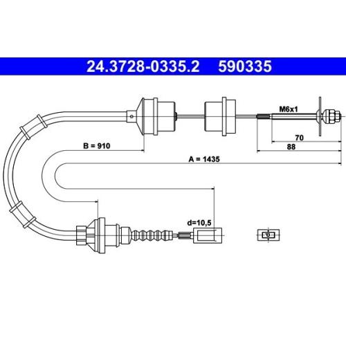Clutch Cable ATE 24.3728-0335.2 CITROËN FIAT PEUGEOT