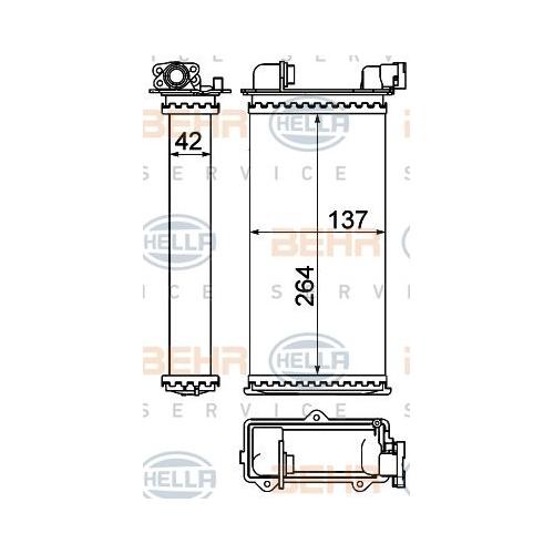 Wärmetauscher, Innenraumheizung HELLA 8FH 351 000-531 BMW