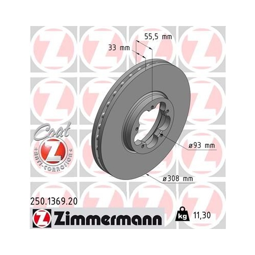 ZIMMERMANN Brake Disc 250.1369.20