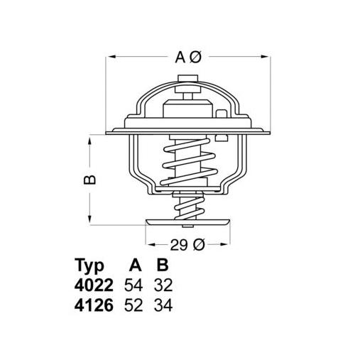 Thermostat, coolant BorgWarner (Wahler) 4022.82D ISUZU SAAB