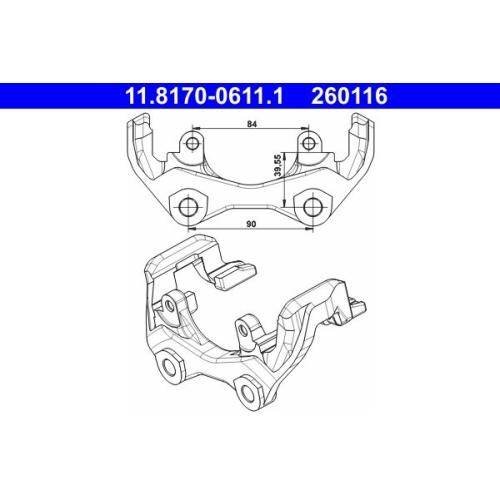 Halter, Bremssattel ATE 11.8170-0611.1 MERCEDES-BENZ