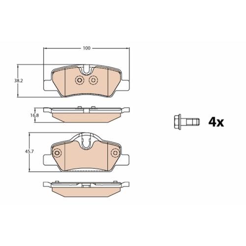 Brake Pad Set, disc brake TRW GDB2088 MINI