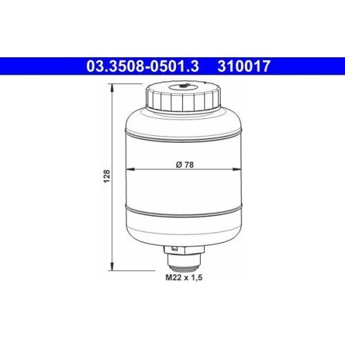 Ausgleichsbehälter, Bremsflüssigkeit ATE 03.3508-0501.3 BUESSING DAF HANOMAG MAN