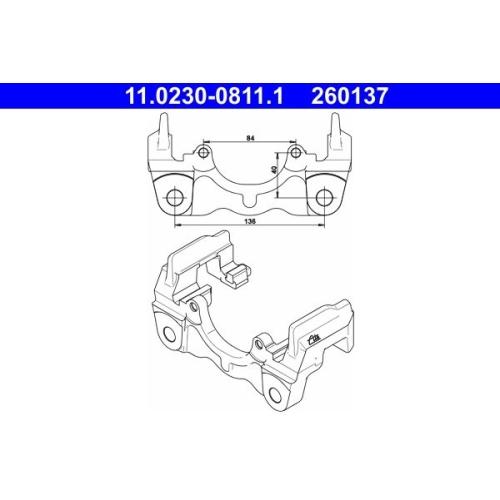 Halter, Bremssattel ATE 11.0230-0811.1 VAG