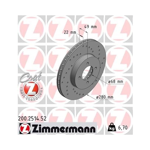 ZIMMERMANN Brake Disc 200.2514.52