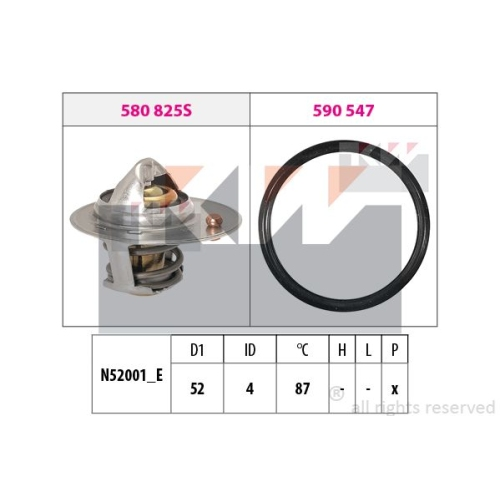 Thermostat, coolant KW 580 825 Made in Italy - OE Equivalent MITSUBISHI