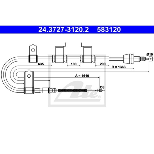 ATE Cable, parking brake 24.3727-3120.2