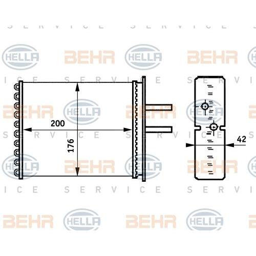Wärmetauscher, Innenraumheizung HELLA 8FH 351 313-381 FIAT