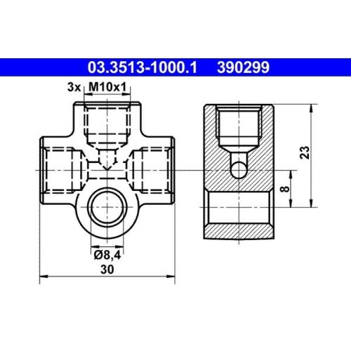 Verbindungs-/Verteilerstück, Rohrleitungen ATE 03.3513-1000.1 MAGIRUS-DEUTZ SAAB