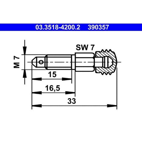 Entlüfterschraube/-ventil ATE 03.3518-4200.2 ALFA ROMEO BMW DAF FIAT FORD SAAB