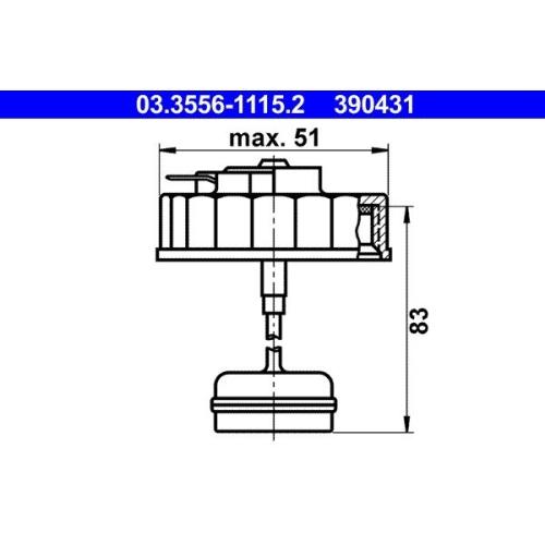 Sealing Cap, brake fluid reservoir ATE 03.3556-1115.2