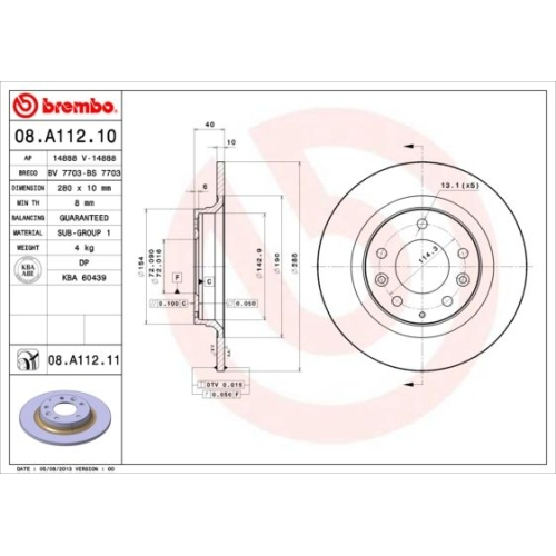 Bremsscheibe BREMBO 08.A112.11 COATED DISC LINE MAZDA