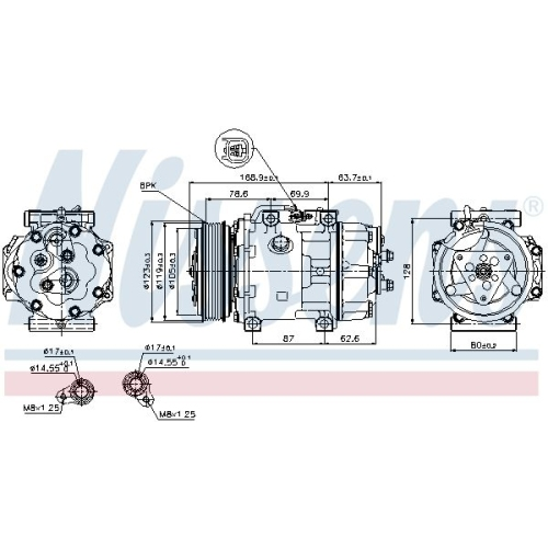 Compressor, air conditioning NISSENS 89143 FORD MAZDA VOLVO