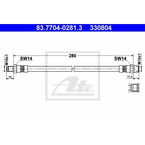 Bremsschlauch ATE 83.7704-0281.3 ALFA ROMEO FIAT MERCEDES-BENZ