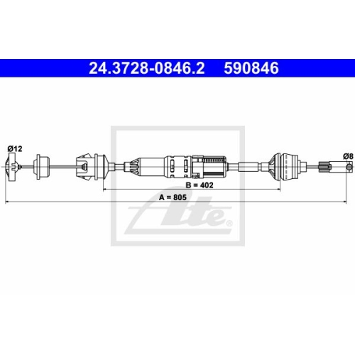 Clutch Cable ATE 24.3728-0846.2 PEUGEOT