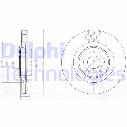 DELPHI Bremsscheibe BG9072C