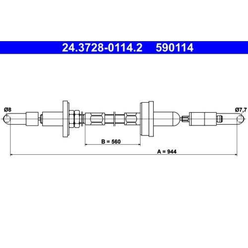 Seilzug, Kupplungsbetätigung ATE 24.3728-0114.2 VAG