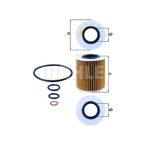 Oil Filter MAHLE OX 166/1D BMW