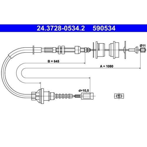 Seilzug, Kupplungsbetätigung ATE 24.3728-0534.2 FIAT