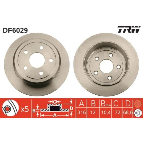 TRW Brake Disc DF6029