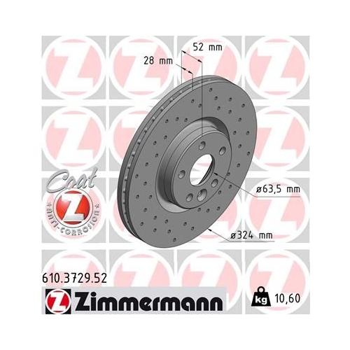 ZIMMERMANN Brake Disc 610.3729.52