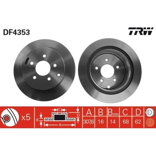 TRW Brake Disc DF4353