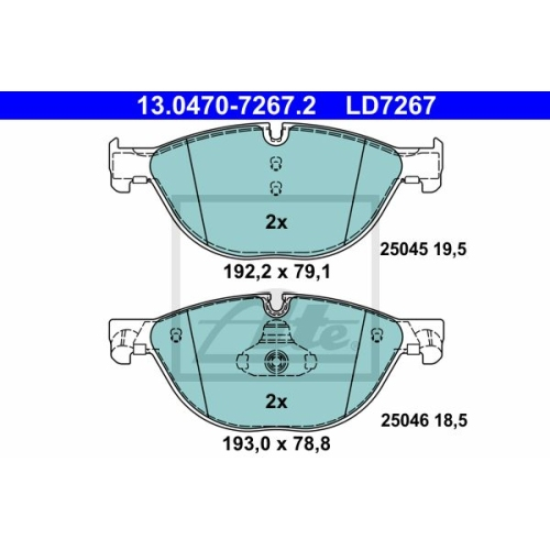 ATE Brake Pad Set, disc brake 13.0470-7267.2