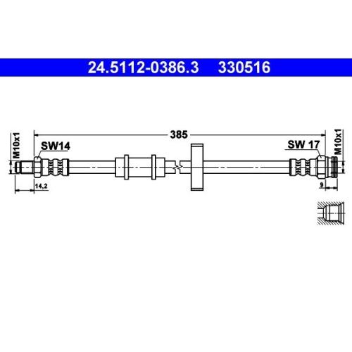 Brake Hose ATE 24.5112-0386.3 FIAT