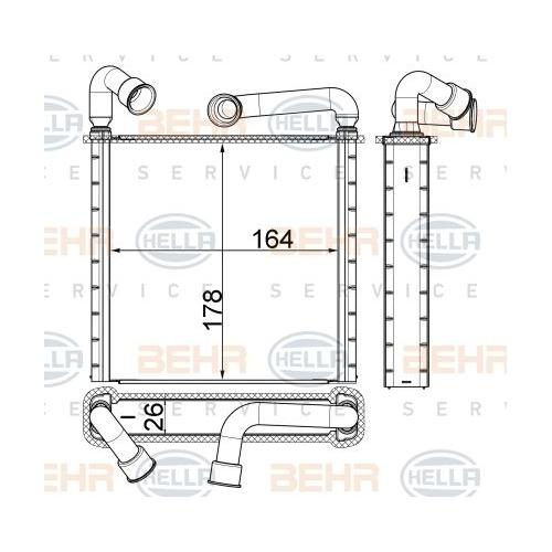 Heat Exchanger, interior heating HELLA 8FH 351 511-634 AUDI SEAT SKODA VW