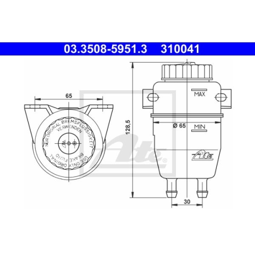 Ausgleichsbehälter, Bremsflüssigkeit ATE 03.3508-5951.3 BMW MAGIRUS-DEUTZ VOLVO