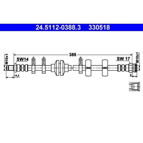 Brake Hose ATE 24.5112-0388.3 FIAT