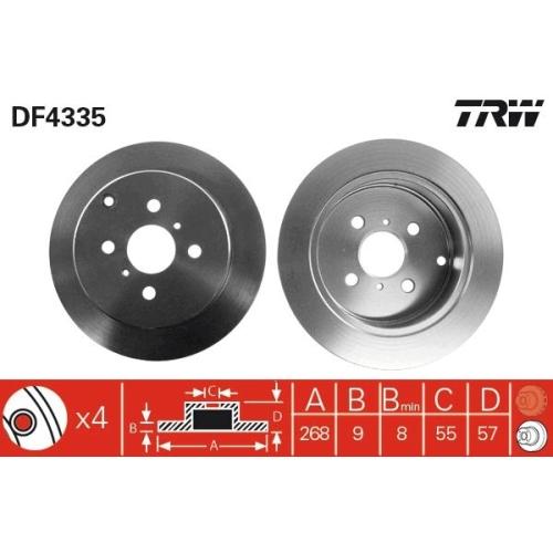 Brake Disc TRW DF4335 TOYOTA LIFAN BYD TOYOTA (FAW) DONGFENG