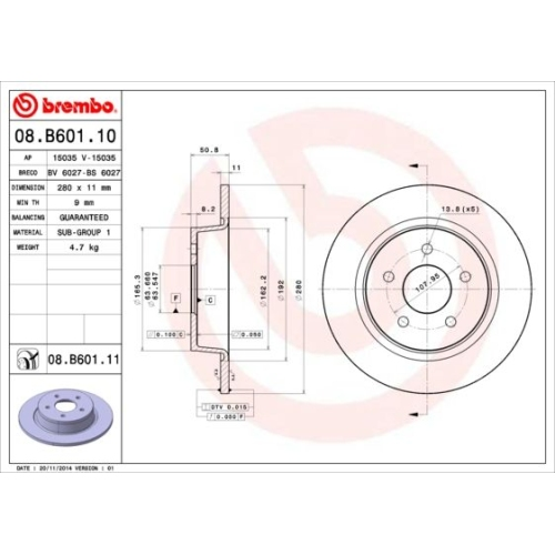 Bremsscheibe BREMBO 08.B601.11 COATED DISC LINE FORD