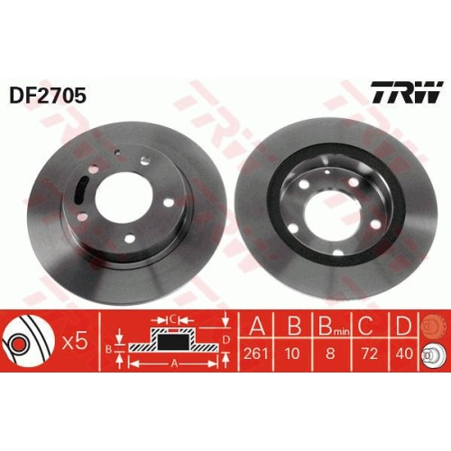 TRW Brake Disc DF2705