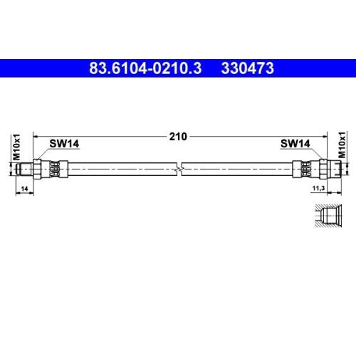 Brake Hose ATE 83.6104-0210.3 MERCEDES-BENZ