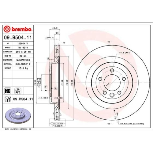 Bremsscheibe BREMBO 09.B504.11 COATED DISC LINE LAND ROVER