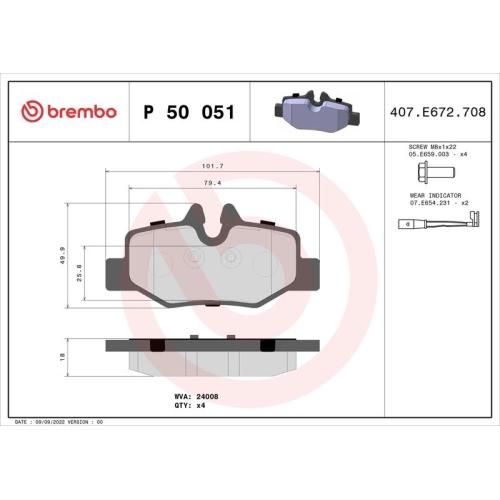 BREMBO Brake Pad Set, disc brake P 50 051